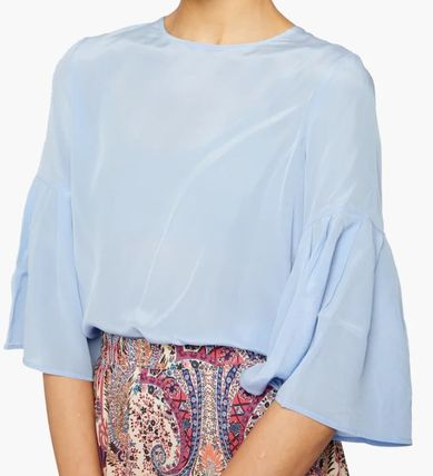 Icy Color Casual Style Silk Blended Fabrics Cropped Plain