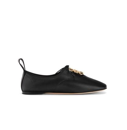 LOEWE Anagram Round Toe Lace-up Casual Style Plain Leather Handmade