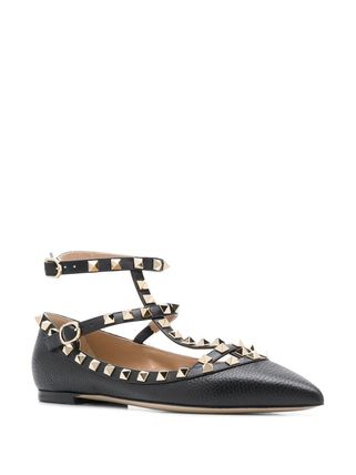 VALENTINO Studded Street Style Leather Pointed Toe Shoes