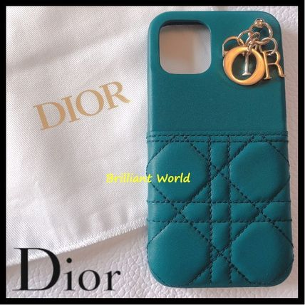 Christian Dior LADY DIOR Street Style Plain Leather Logo Tech Accessories