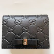 GUCCI Blended Fabrics Plain Leather Folding Wallet Small Wallet