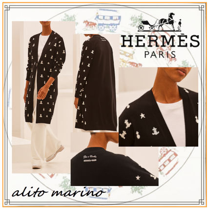 HERMES Casual Style Cashmere Long Sleeves Long Elegant Style