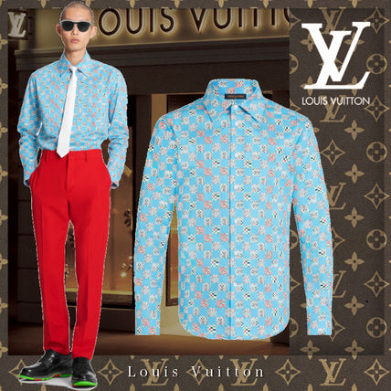 Louis Vuitton Shirts Other Plaid Patterns Street Style Long Sleeves Cotton Logo