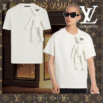 Louis Vuitton Crew Neck Monogram Unisex Cotton Short Sleeves Logo Luxury
