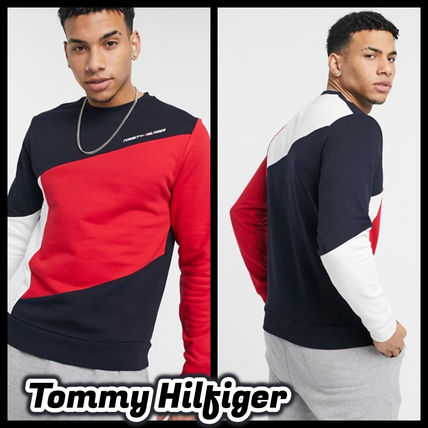 Tommy Hilfiger Sweatshirts Crew Neck Street Style Long Sleeves Plain Cotton Logo