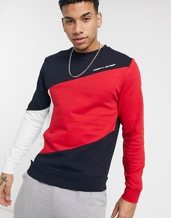 Tommy Hilfiger Sweatshirts Crew Neck Street Style Long Sleeves Plain Cotton Logo 2