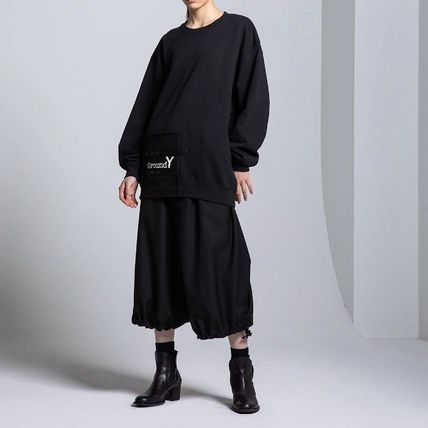 Yohji Yamamoto Unisex Street Style U-Neck Long Sleeves Plain Cotton Logo