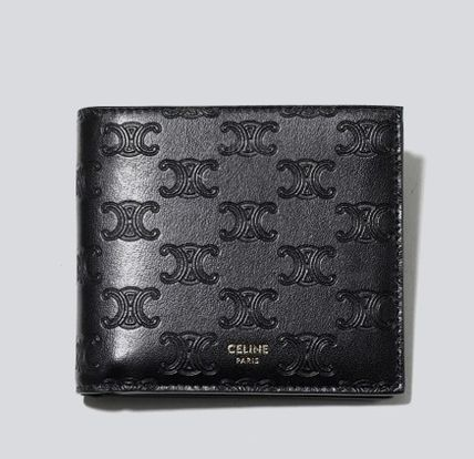 CELINE Triomphe Logo Calfskin Leather Folding Wallets