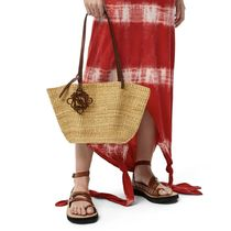 LOEWE Small Shell Basket Bag In Elephant Grass And Calfskin
