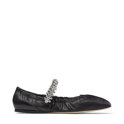 Jimmy Choo Square Toe Casual Style Plain Leather With Jewels