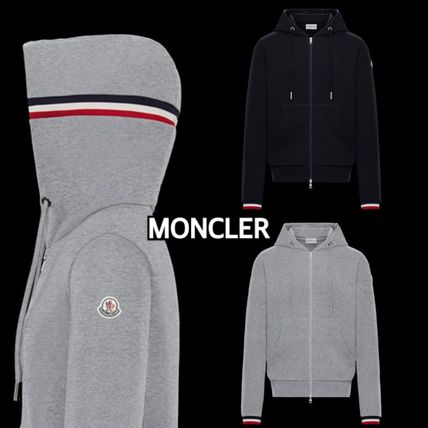 MONCLER Hoodies Street Style Long Sleeves Plain Cotton Logos on the Sleeves