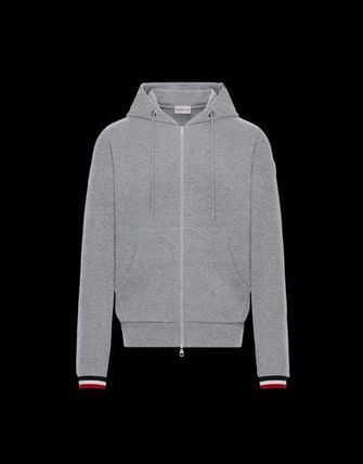 MONCLER Hoodies Street Style Long Sleeves Plain Cotton Logos on the Sleeves 2
