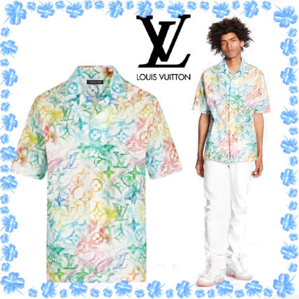 Louis Vuitton Logo Luxury Button-down Monogram Cotton Short Sleeves