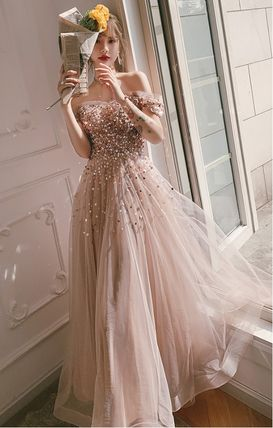 Bridal Flared Long With Jewels Wedding Dresses