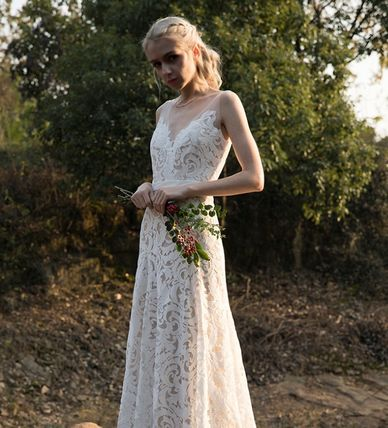 Bridal Maxi Sleeveless V-Neck Long Wedding Dresses
