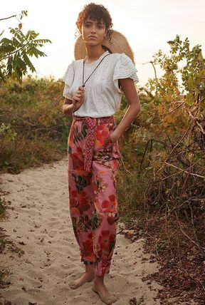 Anthropologie Flower Patterns Casual Style Blended Fabrics Plain Long