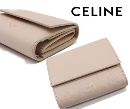 CELINE Folding Wallet Small Wallet Logo Plain Leather