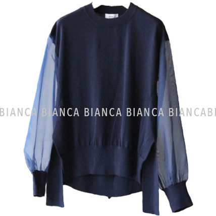 Sheer Crew Neck Casual Style Long Sleeves Plain Cotton