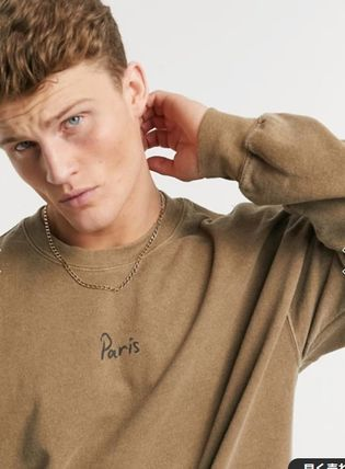 Crew Neck Pullovers Street Style Long Sleeves Plain Logo