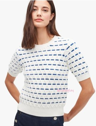 kate spade new york Cable Knit Stripes Casual Style U-Neck Short Sleeves