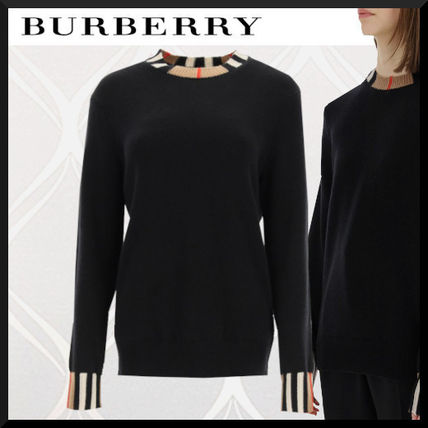 Burberry Stripes Casual Style Cashmere Street Style Long Sleeves