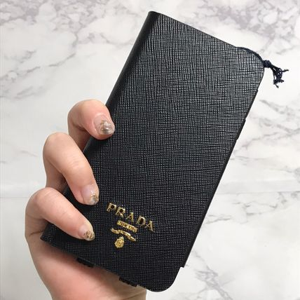 PRADA Plain Leather iPhone X iPhone XS Logo Tech Accessories