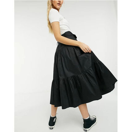 Casual Style Plain Cotton Long Tired Maxi Skirts