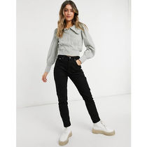 Pimkie Short Stripes Casual Style Cotton Puff Sleeves Cropped
