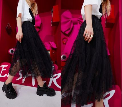 ELF SACK Casual Style Blended Fabrics Long Party Style Lace