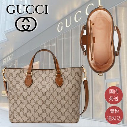 GUCCI GG Supreme Casual Style Canvas 2WAY Logo Totes