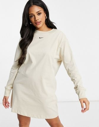 Nike Crew Neck Street Style Long Sleeves Plain Cotton Oversized