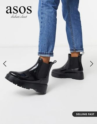 ASOS Rubber Sole Plain Chunky Heels Flat Boots