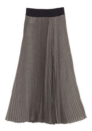 Bridal Casual Style Pleated Skirts Plain Long Party Style