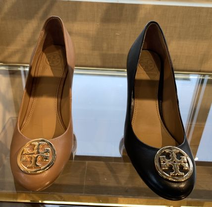 Tory Burch Logo Round Toe Plain Leather Office Style Elegant Style