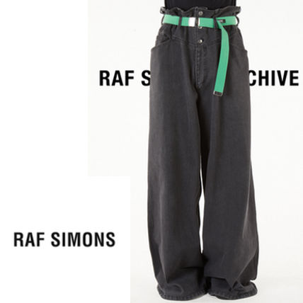 RAF SIMONS More Jeans Street Style Plain Cotton Oversized Front Button Jeans