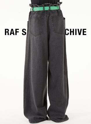 RAF SIMONS More Jeans Street Style Plain Cotton Oversized Front Button Jeans 2