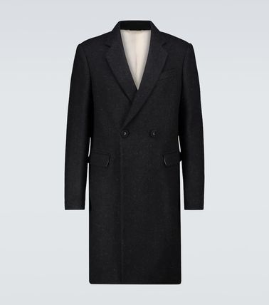 RAF SIMONS Bridal Stand Collar Coats Short Wool Plain Long Street Style