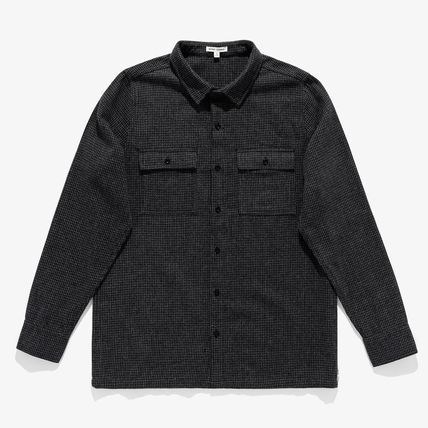Button-down Wool Nylon Blended Fabrics Bi-color Long Sleeves