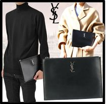 Saint Laurent Casual Style Unisex Street Style Leather Logo Clutches
