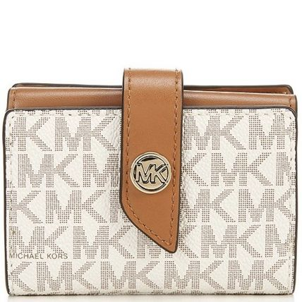 Michael Kors Unisex Canvas Blended Fabrics Plain Leather Folding Wallet