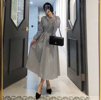 MONICA ROOM Dresses Stripes Casual Style A-line Flared V-Neck Long Sleeves