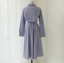 MONICA ROOM Dresses Stripes Casual Style A-line Flared V-Neck Long Sleeves 10