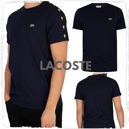 LACOSTE More T-Shirts Plain Cotton Short Sleeves Logos on the Sleeves Logo