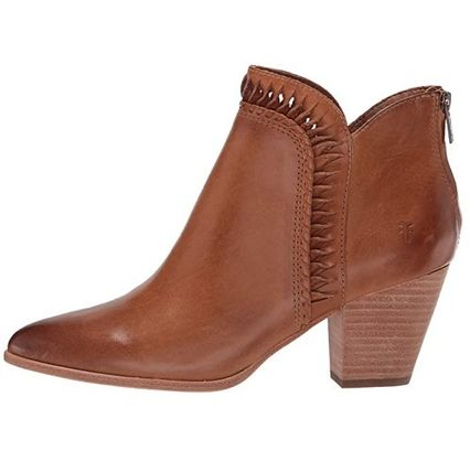 Cowboy Boots Casual Style Plain Leather Block Heels