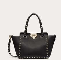 VALENTINO Casual Style Calfskin Studded 2WAY Logo Totes