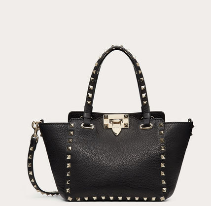 VALENTINO Logo Casual Style Calfskin Studded 2WAY Totes