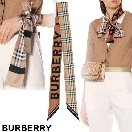 Burberry Logo Other Plaid Patterns Silk Lightweight Scarves & Shawls