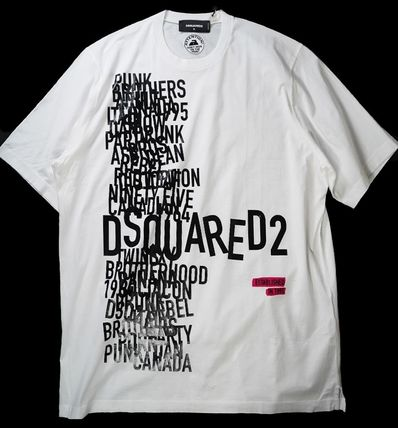 D SQUARED2 Crew Neck Pullovers Cotton Short Sleeves Oversized Logo