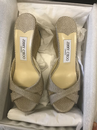 Jimmy Choo Open Toe Casual Style Leather Elegant Style Formal Style