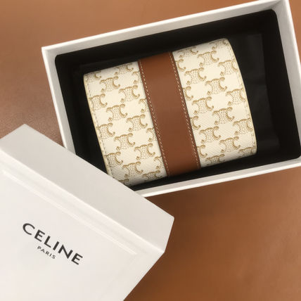 CELINE Calfskin Canvas Logo Folding Wallets